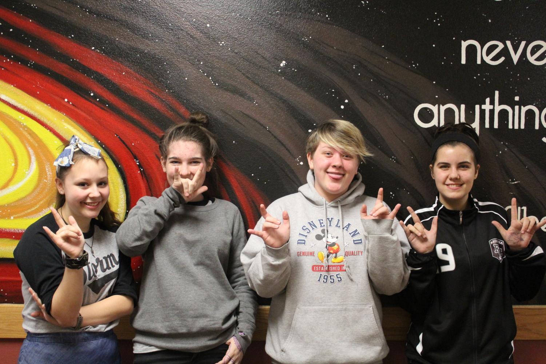 Freshmen (from left to right) Jaden Durfee, Hannah Crawford, Ella Rose, Caylie Csar.