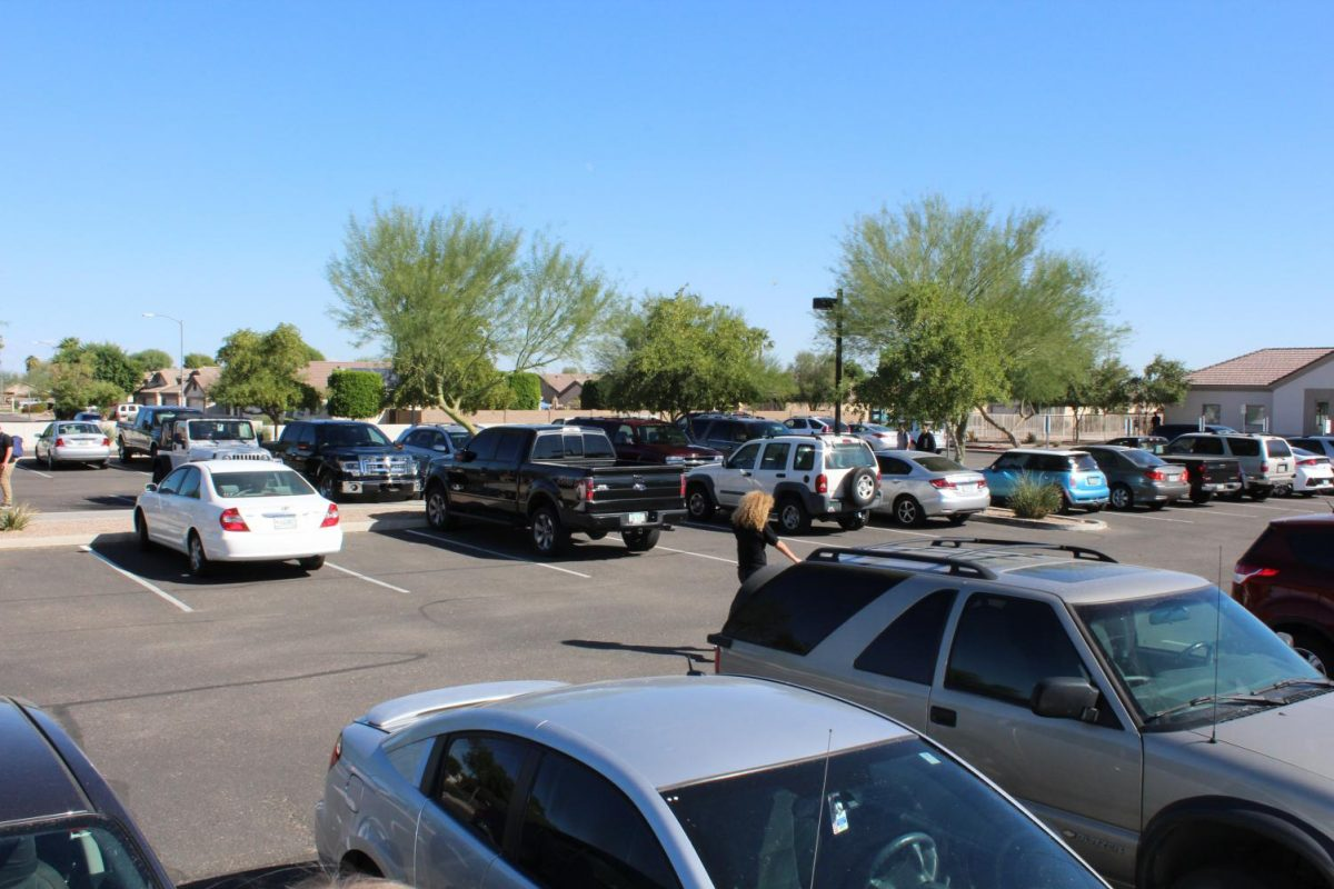 The student and staff parking lot rarely has open spots.