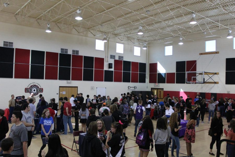 Students+gather+around+in+the+gym+to+learn+more+information+about+colleges+and+the+armed+forces.
