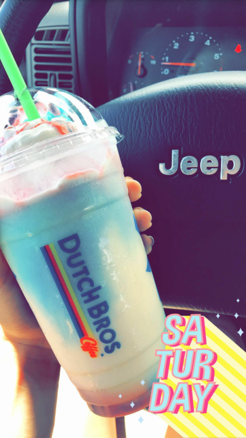 Senior Chelsea Olewnik ordered a Freedom Frost from Dutch Bros. The frost is more of a milkshake than a blended coffee, the Freedom Frost has vanilla and blue raspberry with blue raspberry drizzle.