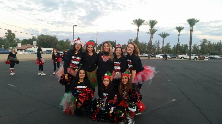 Left to right: Daniela Estrada, Siera Jones, coach Phoenix Hunt, Megan Walker, Jourden Hunt, Emily Estrada, Sam Phipps, Tanaeah Singh are members of the IPS dance team.