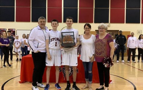 On senior night, Max Machado was recognized with the ball he was playing with when he scored his 1,000th point for Imagine Prep's Varsity Basketball game.