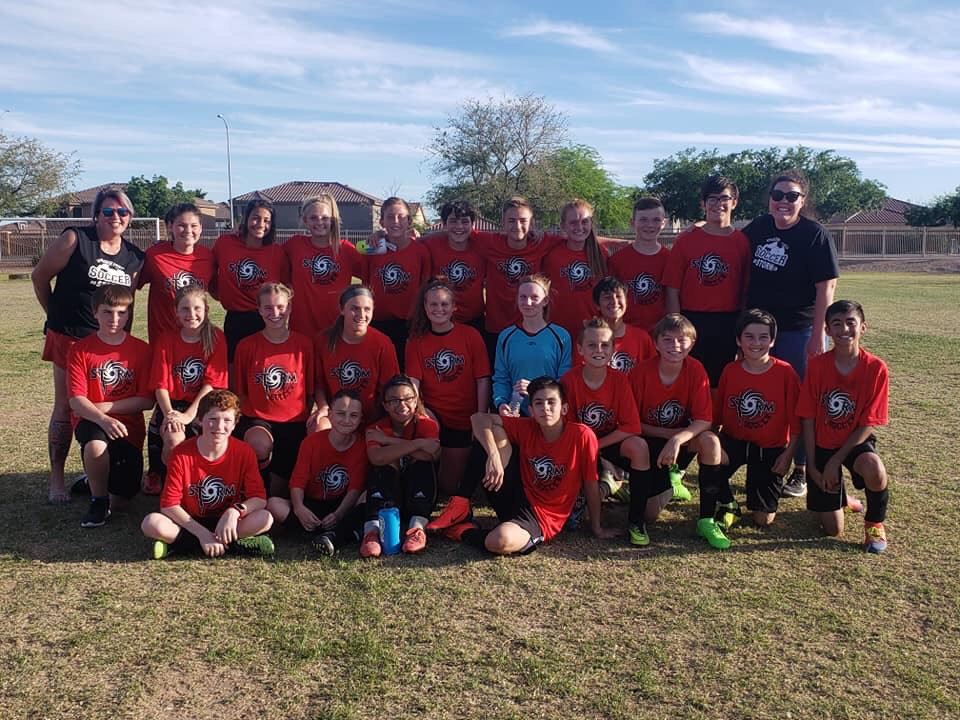 The middle school soccer team is made up of sixth, seventh and eighth graders and is coached by Rachel Kelley.