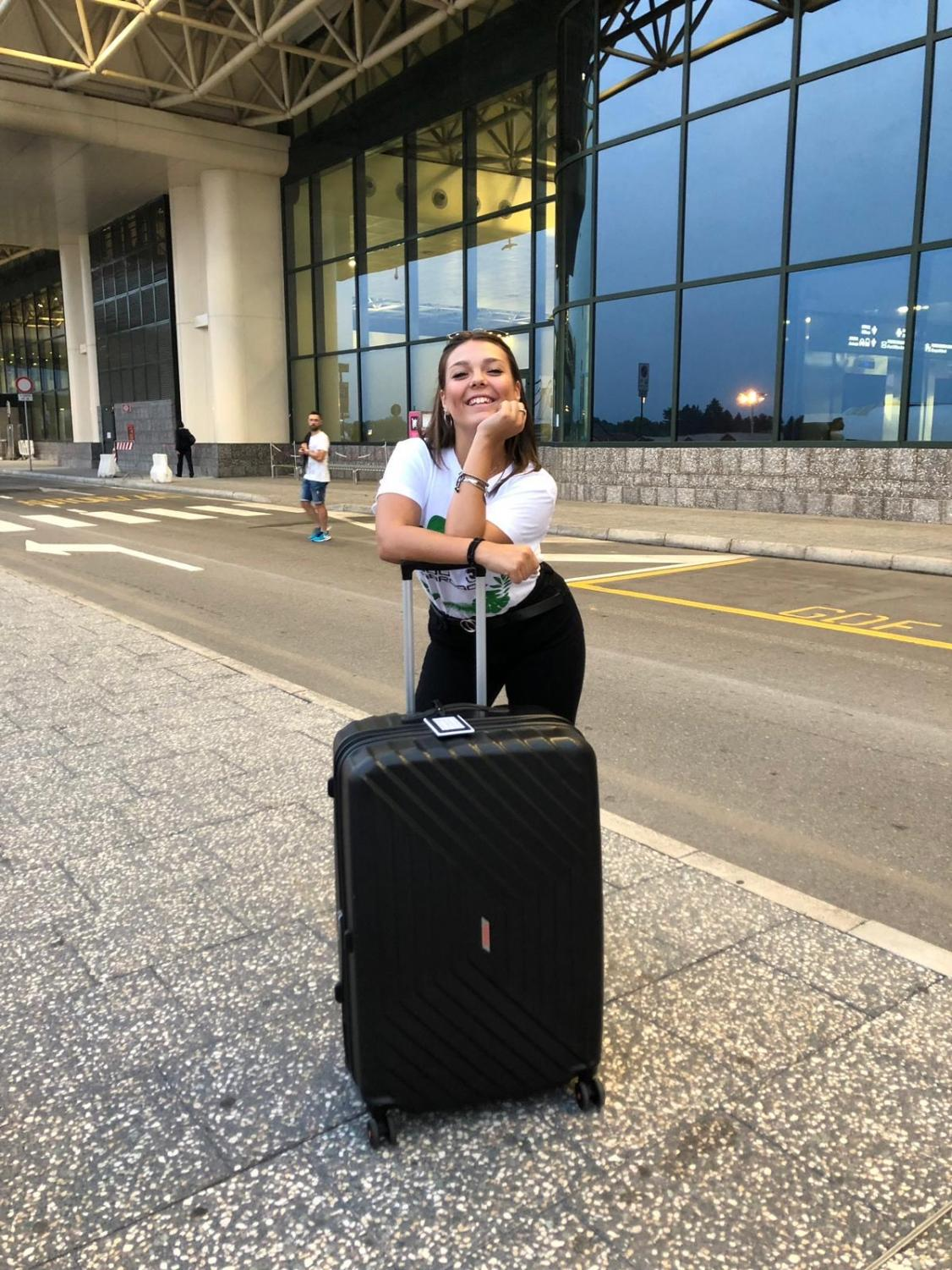 Senior Ginevra Adamei poses at the Milan, Italy airport before flying to Phoenix, Arizona for her exchange program at Imagine Prep Surprise.