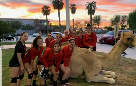 The storm varsity volleyball team posing with a special guest