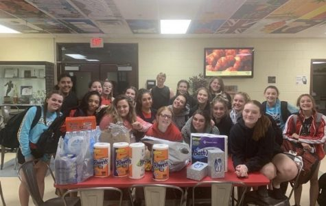 The IPS cheer team donated many items to RMHC.